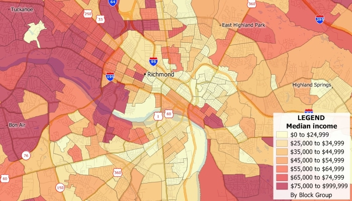 Census block groups demographic map created with Maptitude Mapping Software